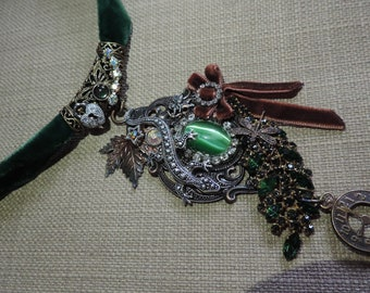 """Victorian chic designer necklace """"Tree of wishes"""" (Choker)"""