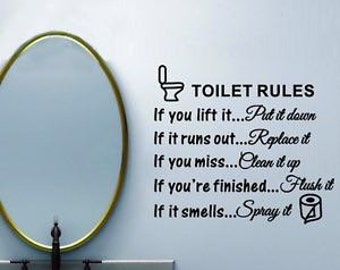Toilet rules decal, bathroom, toilet, vinyl