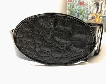 Black Alligator Skin Belt Buckle-Oval