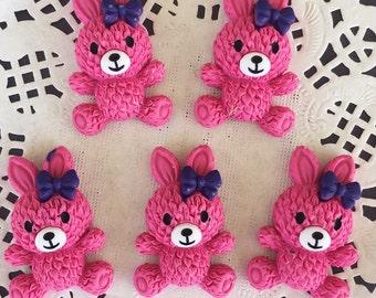 2 pcs.21x32mm.Miniature Cabochon Rabbit,Miniature Rabbit,Miniature animals Cabochon,Resin,Miniature Sweet,Jewelry DIY