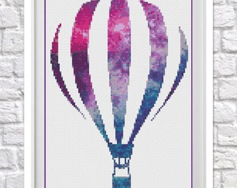 Galaxy Hot Air Balloon Counted Cross Stitch Chart