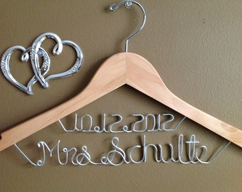 Bridal Hanger with Date, Wedding Personalized  Bridal Hanger, Brides Hanger, Bride, Name Hanger, Wedding Hanger, Personalized Bridal Gift