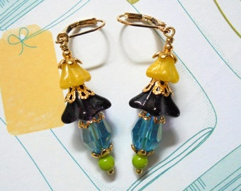 Amethyst, Aqua, Yellow and Lime Flower Earrings (3471)
