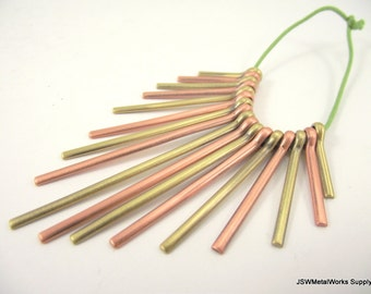 Graduated Fan Beads, Antiqued Copper and Antiqued Silver Fan, 20 - 59 mm