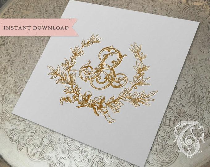 Vintage Wedding Initial B Laurel Wreath Crest Digital Download