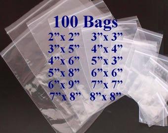 Clear Plastic Bags, Zip Lock Bags, Plastic Baggies, Reclosable, Poly Bags, 2x2 Bags, 3x5 Bags, 4x4 Bags, 5x8 Bags. 6x6 Bags, 7x7 Bags, 8x8