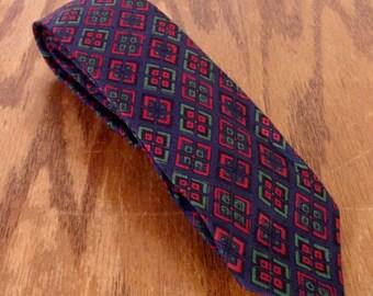 "vtg 50s 60s Wembley Navy/Red Diamond Pattern Silk Skinny Tie Necktie 55"" 2"""