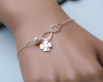 infinity bracelet,clover bracelet,Lucky Four leaf bracelet,Best Friendship Bracelet,custom birthstone,Sisterhood infinity,Custom birthstone