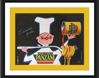 Spaghetti Chef Kitchen Art Restored Vintage Reproduction 8 x 10