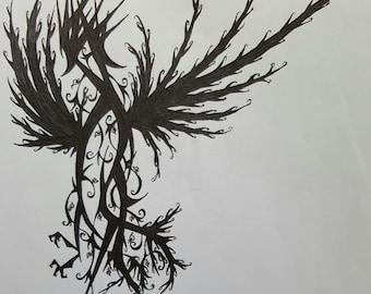 Bird vines - pen ink illustration - original drawing