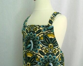 Girls Japanese Apron, Crossback Apron, Art Smock, Pinafore, Crisscross Apron, Adjustable, Peacocks Turquoise Aqua Blue, Feathers and Fancy