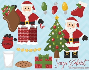 Santa Claus Clipart Set Commercial Use Christmas Clip Art Digital Vectors -CA180