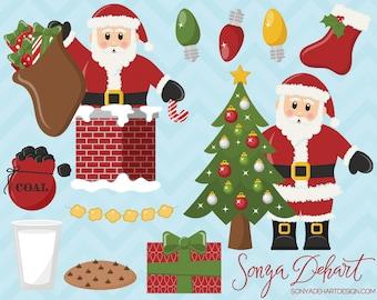 80% OFF SALE Santa Claus Clipart Set Commercial Use Christmas Clip Art Digital Vectors -CA180