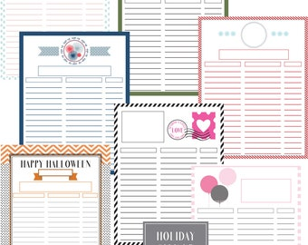 Holiday Sign Up Sheets -  7 Sheets Filled & Unfilled with Editable Text Boxes - Perfect Printable for Direct Sales, School, Church Events