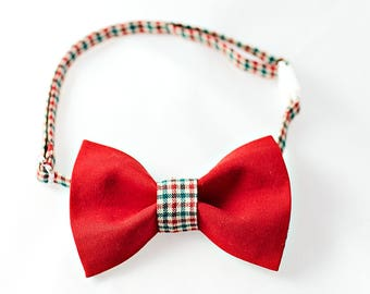 Red Bow Tie Boys with Checkered Neckband - Red Boy Bow Tie, Boys Wedding Bow Tie, Birthday Bowtie, Baby Check Bow Tie, Bow Tie Toddler