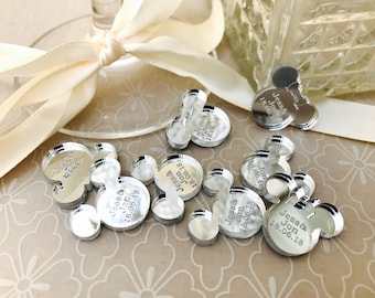 Personalised Wedding, Mr & Mrs Table Confetti Decorations. Disney, Mickey, Minnie, Mouse