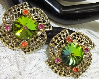 Vintage Watermelon Rivoli and  Pink and Red Rhinestone Filigree Earrings