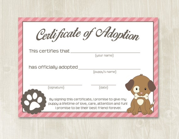 fake birth certificate template free download - puppy party adoption certificates instant download adopt