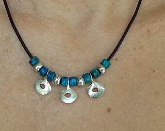 Black Leather Necklace, Greek Pendants Silver Plated, Mykonos Greek Beads, Women's Necklace Bangle, Tribal Necklace