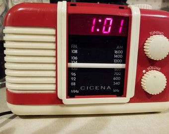Vintage Cicena Radio Alarm Clock. Red and White PLASTIC