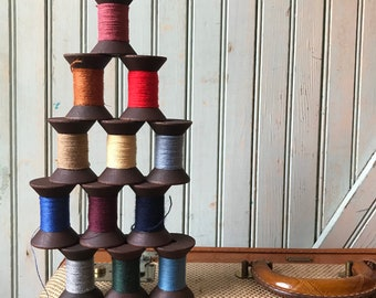 SALE Today 12 Blackened Colorful Thread Spools - Primitive 2 Inch Wooden Bobbins - Set of 12 Rustic Decor