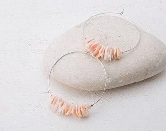 Pink Shell Hoop Earrings/Shell Hoop Earrings/Hoop Earrings/Coral Pink Shell Earrings