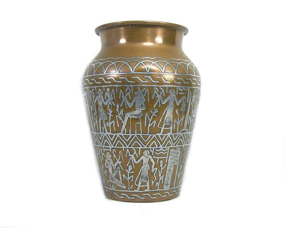 Vintage Egyptian Revival Copper Vase with Silver Inlay