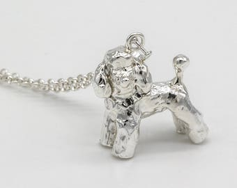 Poodle 3D Sterling Silver Necklace