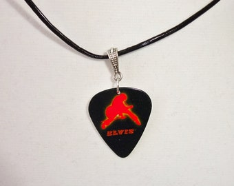 Elvis Guitar Pick Necklace Leather Cord Black and Red Handmade