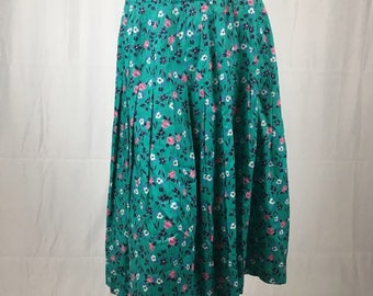 Joseph A. Banks Teal Floral Pleated Skirt