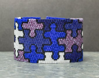 Cuff Bracelet, Puzzle, Purple, Bead Bracelet, Seed Beads, Peyote, Beaded Bracelet, Beadwork Jewelry