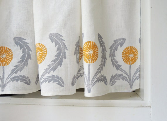 Dandelion Linen Cafe Curtains Or Valance Gray Yellow Green
