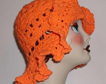 Orange Sunhat, Orange Sun Hat, Orange Floppy Hat, Bright Orange Hat, Cotton Hat, Big Floppy Hat, Summer Hat, Groovy Hat, Hippie Hat