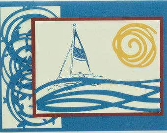 Handmade Anniversary or Birthday Card for Sailor, Nautical Card, Sailing the Seas Card, Love Card for Him, Man, Husband, Sailor, Navy