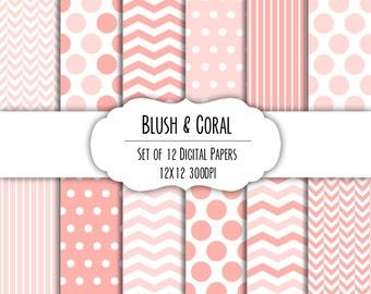 Blush & Coral Pink Digital Scrapbook Paper 12x12 Pack - Set of 12 - Polka Dots, Chevron - Instant Download - Item# 8105