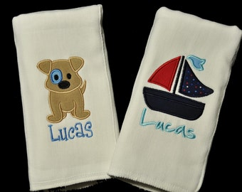 Personalized Baby Burp Cloths - Baby Shower Gift - Baby Boy Gift - Baby Girl Gift - Bib or Burpcloth - Choose Any Design - Monogrammed