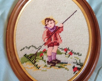 Child Gardener Vintage Oval Needlepoint Wall Hanging