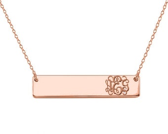 Handwriting Necklace Bar 18k Rose plated pendant any engraving made with 925 silver and gold plated 1 inch