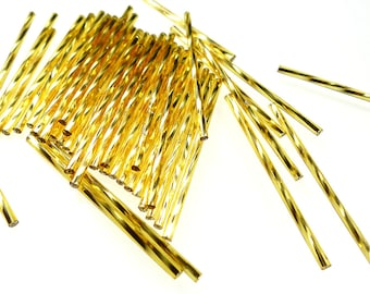 Extra long 50mm lt golden silver lined twisted glass bugle beads