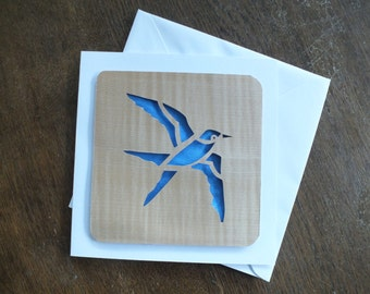 A Hand Cut Maple Veneer Quality Square Greetings Card with a Blue Bird Design