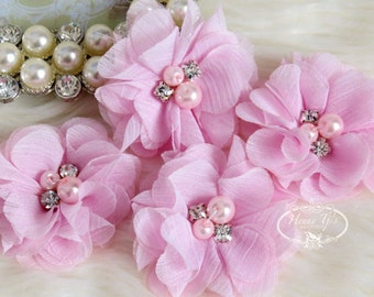 "NEW: 4 pcs Aubrey BABY Light PINK - 2"" Soft Chiffon with pearls and rhinestones Mesh Layered Small Fabric Flowers, Hair accessories"
