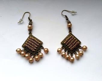 Chandelier Earrings, Peyote Square Earrings, Vintage Pearl Earrings, Pierced Dangle Brass Earrings - Beadwork by enchantedbeads on Etsy