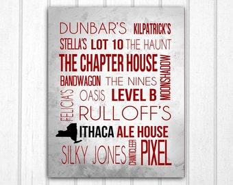 Ithaca Bars Typography Print Cornell Ithaca College