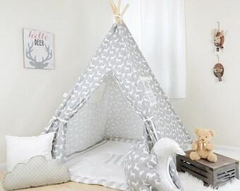 Deer Silhouette Storm / teepee for kids / kids teepee / children teepee / teepee tent / play teepee / toddler tent / play tent / kids tent