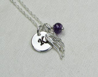 Sterling Silver Angel Wing Necklace Personalized Mothers Necklace Birthstone Necklace Initial Necklace Memorial Remembrance Jewelry Gift
