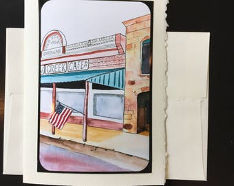 Old Cafe, Small town scene Greeting Card