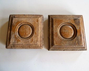 Vintage Architectural Salvage Wood Molding Two Chippy Victorian Rosette Plinth