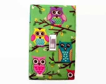 Owl Light Switch Cover - Woodland Nursery Decor - Pink Purple Green Owls Switch Plate