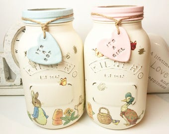 Peter Rabbit and Friends Style Mason Jars