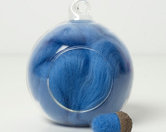 Merino Felting Wool- Wool Roving-Wool Tops -Colour Blue 03 -10grams